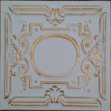 pl15 faux tin ceiling tiles white gold color 3d restaurant cafe
