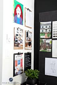 Ideas To Organize Home Office With Clipboards And Large Fabric Covered Cork Board Kylie M Interiors Interior Decor Virtual E Design