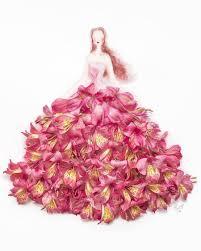 Elegant Drawings Of Girls Wearing Dresses Made Real Flower Petals