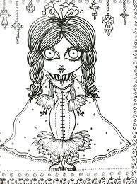 Vampire Vixens Coloring Book Page Goth Gothic Halloween Fantasy Fantasie Fantasia Fantasi Colouring Adult Detailed
