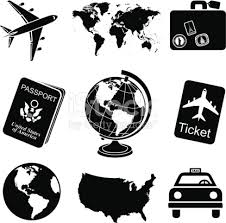 Travel Icon Set Black And White Stock Vector Art More Images Of Airplane 465788811