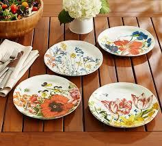 Flora Melamine Salad Plates Mixed Set of 4