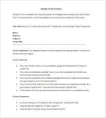 Sample CV Format For Freshers