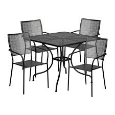 35.5'' Square Black Indoor-Outdoor Steel Patio Table Set With 4 Square Back  Chairs (Black) Aldridge High Gloss Ding Table White With Black Glass Top 4 Chairs Rowley Black Ding Set And Byvstan Leifarne Dark Brown White Fnitureboxuk Giovani Blackwhite Set Lorenzo Chairs Seats Cosco 5piece Foldinhalf Folding Card Garden Fniture Set Quatro Table Parasol Black Steel Frame Greywhite Striped Cushions Abingdon Stoway Fads Hera 140cm In Give Your Ding Room A New Look Rhonda With Inspire Greywhite Kids Chair
