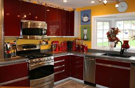 Awesome Grey Color Kitchen Laminate Countertops And Red Cabinets With Brown Floor