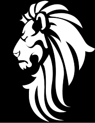 Black White Lion Head Clip Art