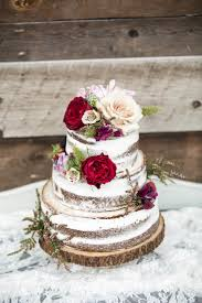 Naked Cake Rustic Floral Topper Red And Cream Flowers Natural Wedding