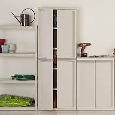 sterilite 01428501 4 shelf cabinet with putty handles platinum