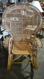 Super Fantastic Vintage Wicker Rattan Peacock Rocking Chair With Black  Accent