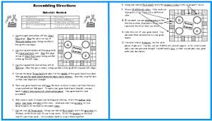 Game Board Book Report Projects Directions For Assembling Templates