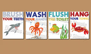 Printable Bathroom Sign In Sheet cartoon fish signs for kids bathroom instant download