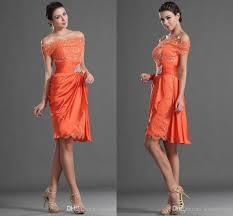 2017 orange cocktail party dresses sheath short off shoulder knee
