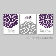 Bathroom Decor Art Relax Soak Unwind Flower Pertaining To Purple Wall Image