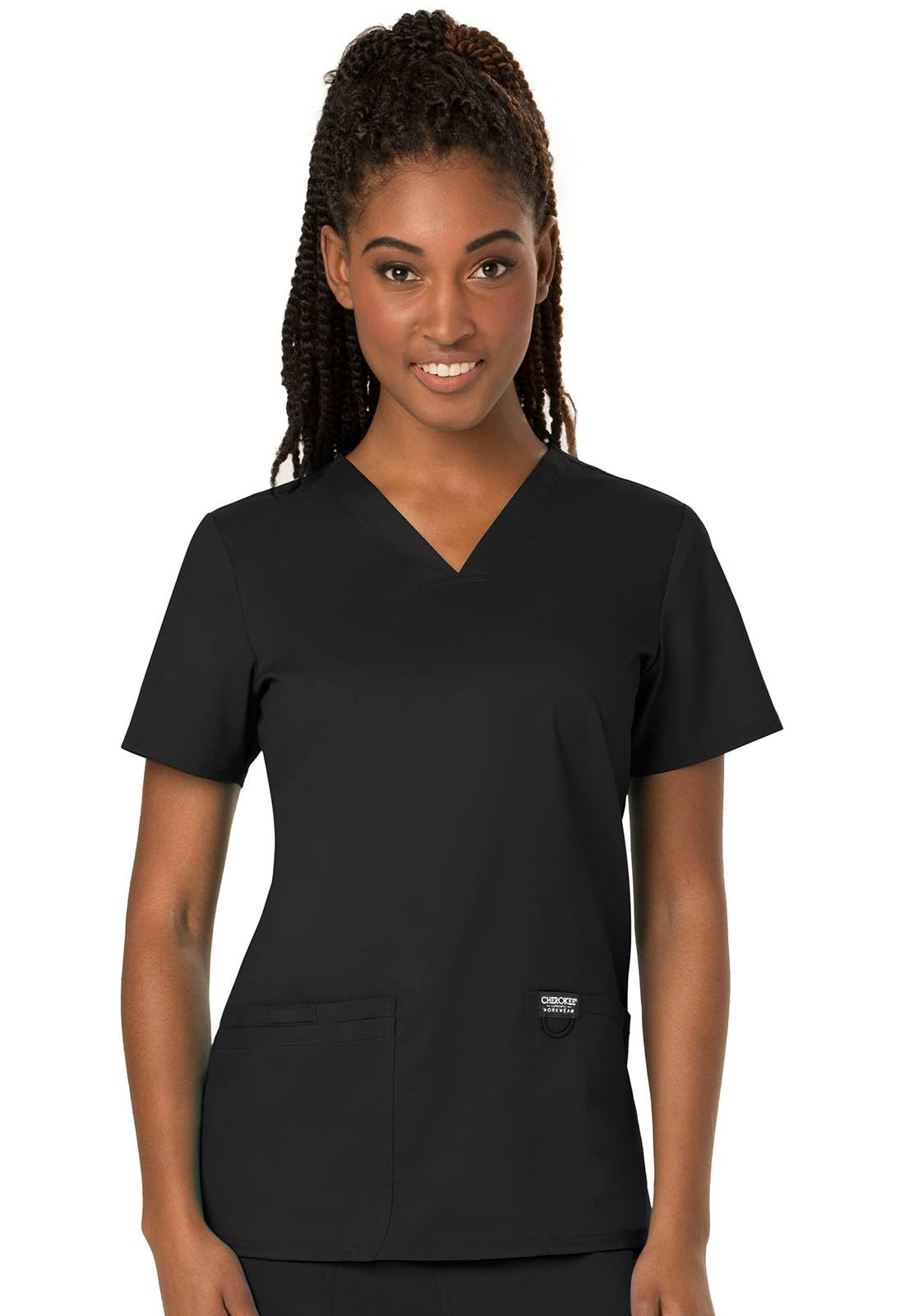 Cherokee Workwear Revolution V-Neck Scrub Top - L - Black