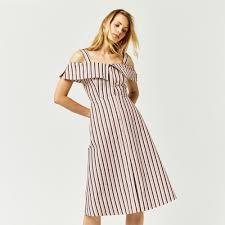 stripe button through dress warehouse