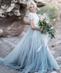 Discount Light Blue Wedding Gown White Lace Sheer Detachable Jacket