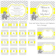 PRINTABLE Gray Yellow Chevron And Elephants Baby Shower