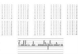 tables de multiplication à imprimer et à apprendre