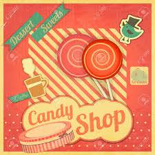 candy sweet shop vintage card retro vector illustration royalty