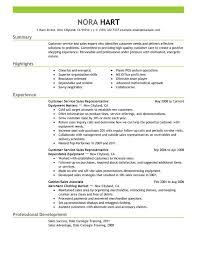 Experienced Customer Service Resume Representatives Sales Nora Hart