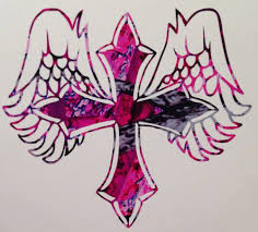 Pink Camo Angel Cross Country Girl Vinyl Decal 5