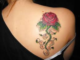 Beautiful Feminine Red Rose Upper Back Tattoo Designs For Women