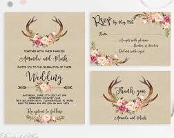 Kraft Wedding Invitation Printable Antlers Suite Blush Deer Invite Rustic Peonies