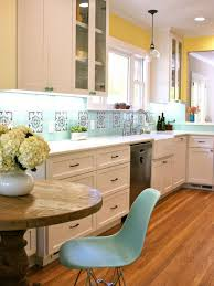 Wall Decor With Kitchen Backsplash Tiles Plus White Cabinet And Round Wood Table Also Eames Chair