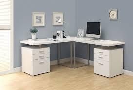 Double Pedestal Modern puter Desk in White Finish
