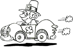 Driving Leprechaun Coloring Book Page And Race Car Irish Jig Luck O The St Patricks Day Paddy