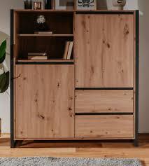 details zu highboard kommode eiche artisan anthrazit wohnzimmer schrank 120 x 140 cm denver