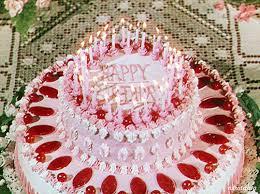 happy birthday pink cake animated