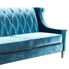 armen living barrister blue velvet crystal button tufted sofa