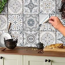 24 stück mosaik bodenaufkleber wandfliese aufkleber für 15x15cm fliesen fliesenaufkleber für bad und küche deko fliesenfolie für bad u küche grau