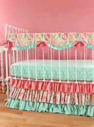 Coral And Mint Baby Bedding by Mint Baby Bedding Mosaic Rose Crib Bedding Set By Lottiedababy
