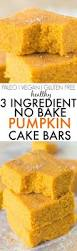 Pumpkin Cake Mix Pancakes by Healthy 3 Ingredient No Bake Pumpkin Cake Bars Quick Easy And