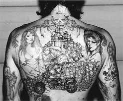 With Tattoos Dating Back To Age 13 This Inmate Was Working Toward A Full Shirt Of Chest And Arms Fully Tattooed The Harley Davidson