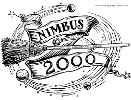 Nimbus 2000 Harry Potter Color Page Cartoon Characters Coloring Pages Plate