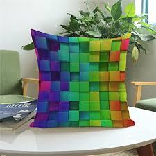yunhigh quadratischen sofa kissen deckt wohnzimmer stuhl kissen deckt bunte abstrakte regenbogen baumwolle werfen kissen fall für sofa lounge