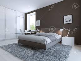 minimalist schlafzimmer für gute erholung große boden schrank mit schiebetüren zum ceilin weiße laminatboden und dunkelbraunen wände 3d übertragen