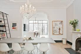 New York Vintage Light Fixtures Dining Room Scandinavian With Arched Fireplace Mount Ceiling Lights White Chairs