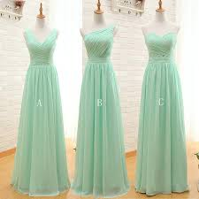 Mint Green Long Chiffon A Line Sweetheart Pleated Bridesmaid Dress