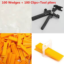 Floor Tile Leveling Spacers by 201 Tile Leveling Spacer System Kit Wedges Clips Pliers Tool