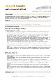 Lead Business Analyst Retail Resume Template