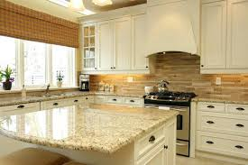 Country White Kitchen Cabinets With Small Island Also Cream Granite And