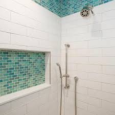 turquoise blue glass shower tiles design ideas