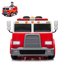 100 Kids Electric Truck Fire Ride On Car 2 Seats With Remote Control For
