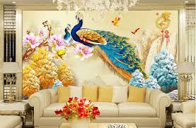 Chinese 3d Wall Sticker For Living Room Peacock Painting Themed