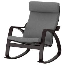 POÄNG - Rocking-chair, Black-brown, Knisa Light Beige