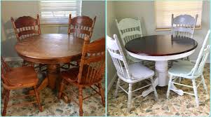 Before And After. Round Oak Table Makeover/redo. Upcycled ...